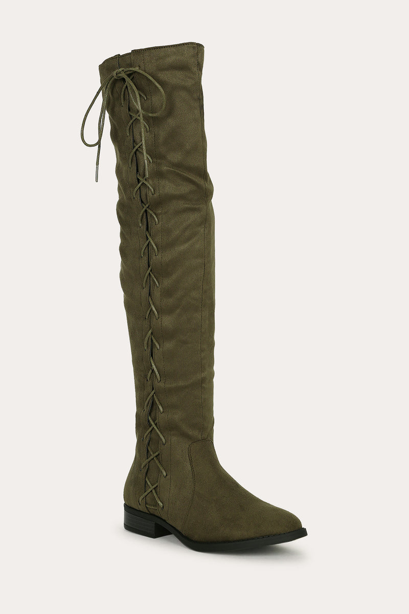 Bella Marie Krysten-10 Olive Side Lace up Boot