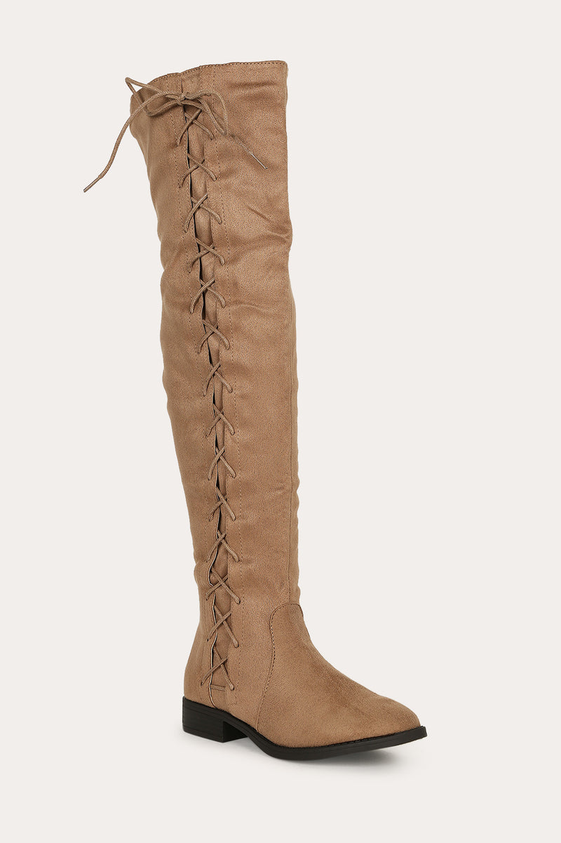 Bella Marie Krysten-10 Taupe Side Lace up Boot