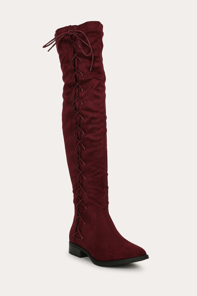 Bella Marie Krysten-10 Wine Side Lace up Boot
