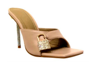 Lemonade Jadore Nude Open Toe Backless Heel W/ a Rhinestone Lock with Rhinestone Heel