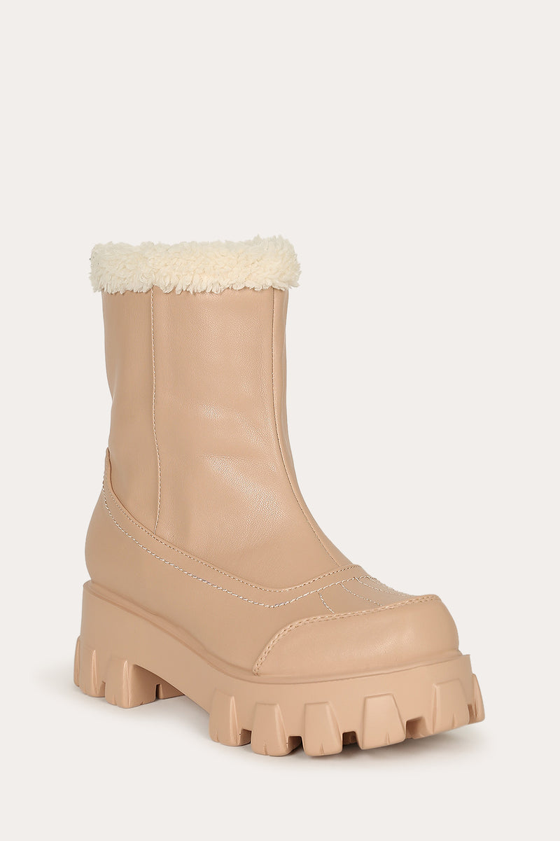 Lemonade Tripper Nude Leather Fur Lined Lug Bootie