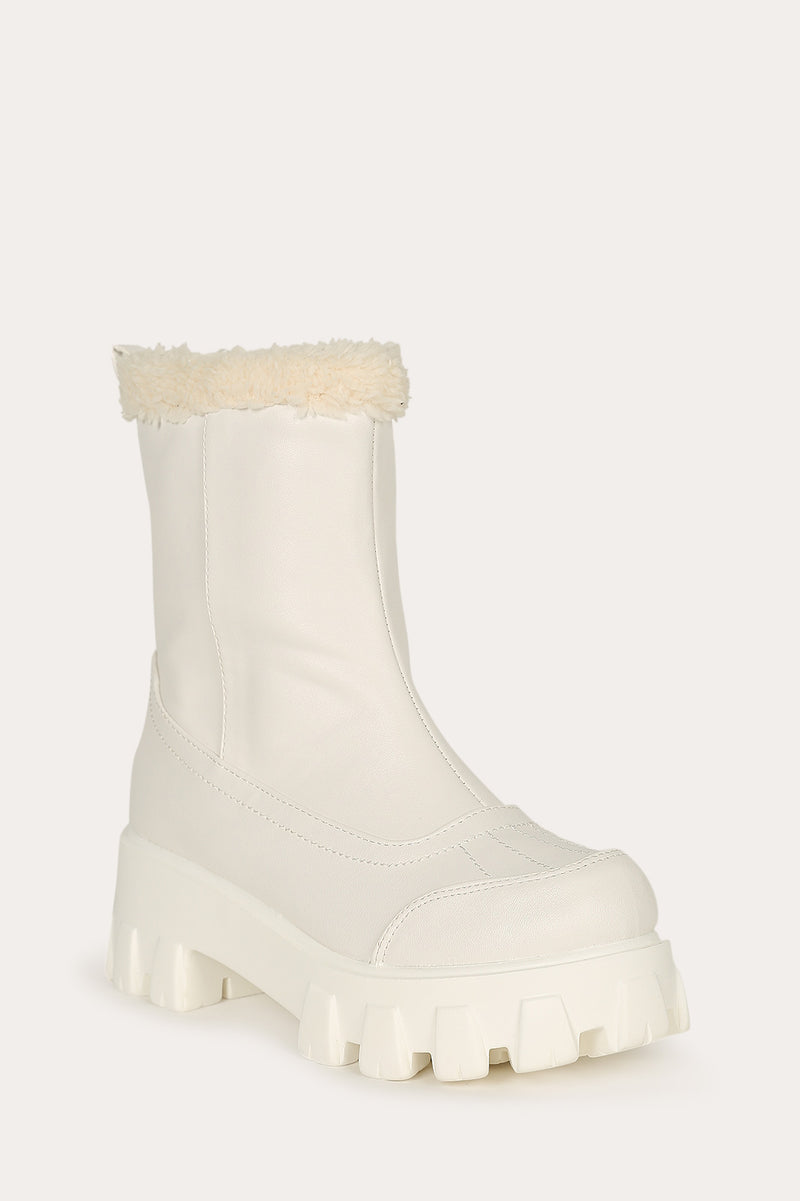 Lemonade Tripper White Leather Fur Lined Lug Bootie
