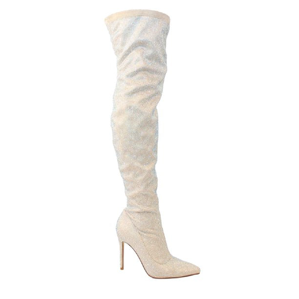 Liliana Javir-2 Nude Thigh High Rhinestone Heel