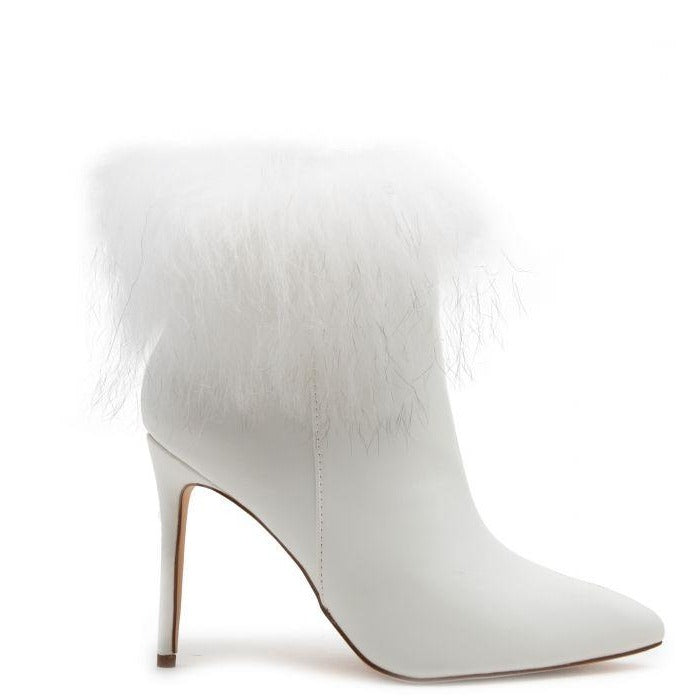 Liliana Stallion-01 White Ankle Bootie W/ Fur Cuff