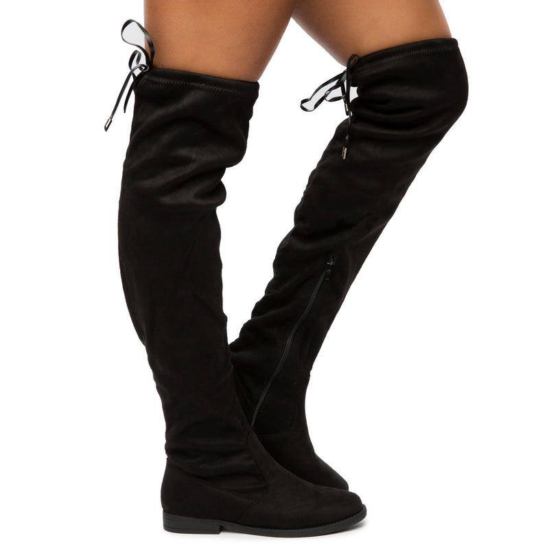 Liliana Tally-1 Black Suede Over-the-Knee Boot