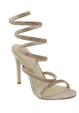 Love Mark Flora-68 Gold Spiral Rhinestone Open Toe Heel