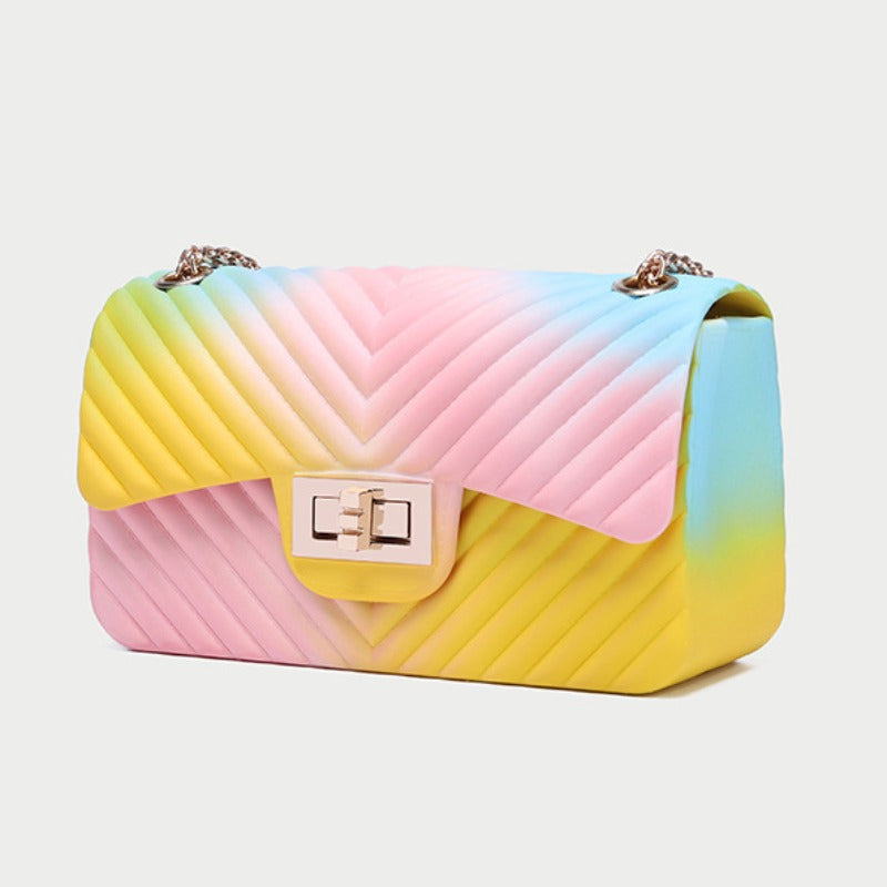 Mini Chain Strap Pastel Pink/Blue/Yellow Flap Crossbody