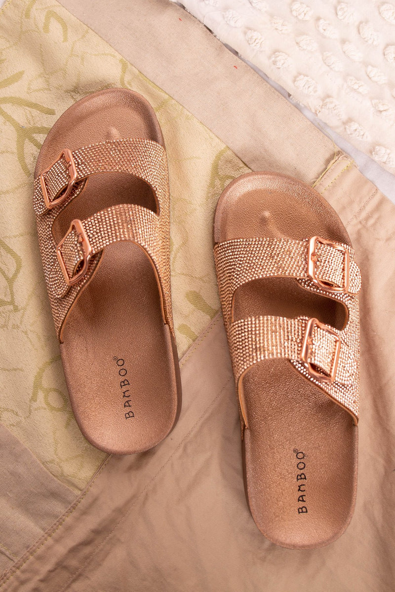 Bamboo Luster-01 Rosegold Double Buckle Strap Sandal