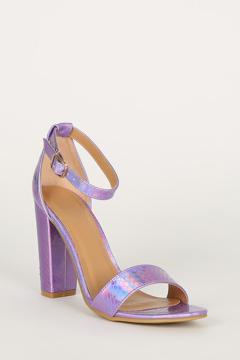 Bamboo Mania-22 Purple Snake Open Toe Block Heel