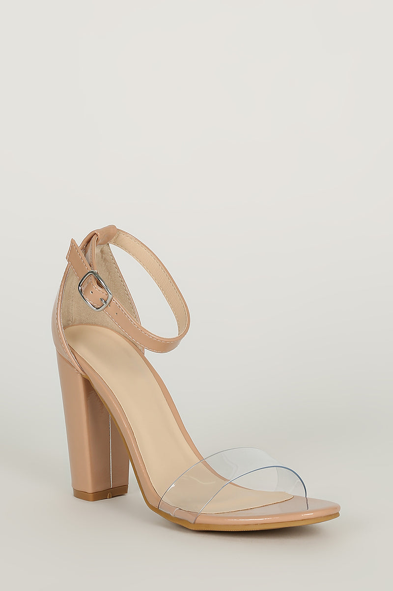 Bamboo Mania-30 Nude Open Toe Clear Strap Thick Heel
