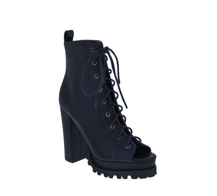 Liliana Monclair-30 Black Open Toe Lace-up Chunky Heel Booties
