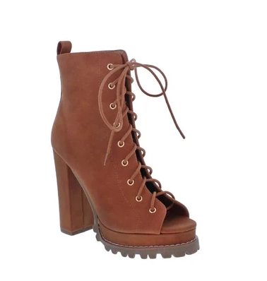 Liliana Monclair-30 Cognac Open Toe Lace-up Chunky Heel Booties