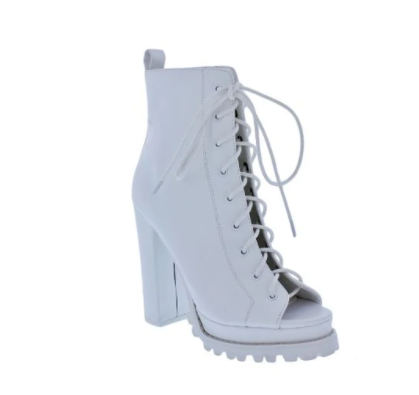 Liliana Monclair-30 White Open Toe Lace-up Chunky Heel Booties