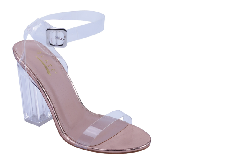 Glaze Miu-2 Rosegold Open Toe Clear Block Heel With Clear Strap