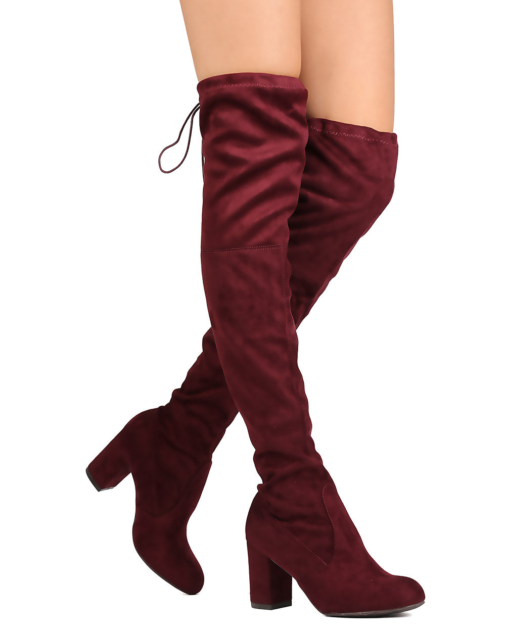 Nature Breeze Bonita-02OK Burgundy OTK Heeled Boot W/ string on top of boot
