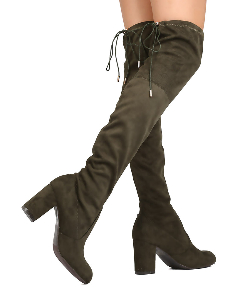 Nature Breeze Bonita-02OK Olive Green OTK Heeled Boot W/ string on top of boot