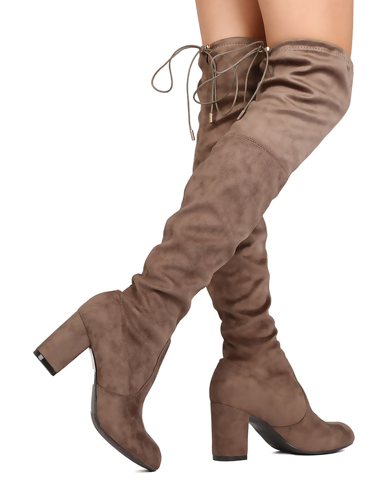 Nature Breeze Bonita-02OK Taupe OTK Heeled Boot W/ string on top of boot
