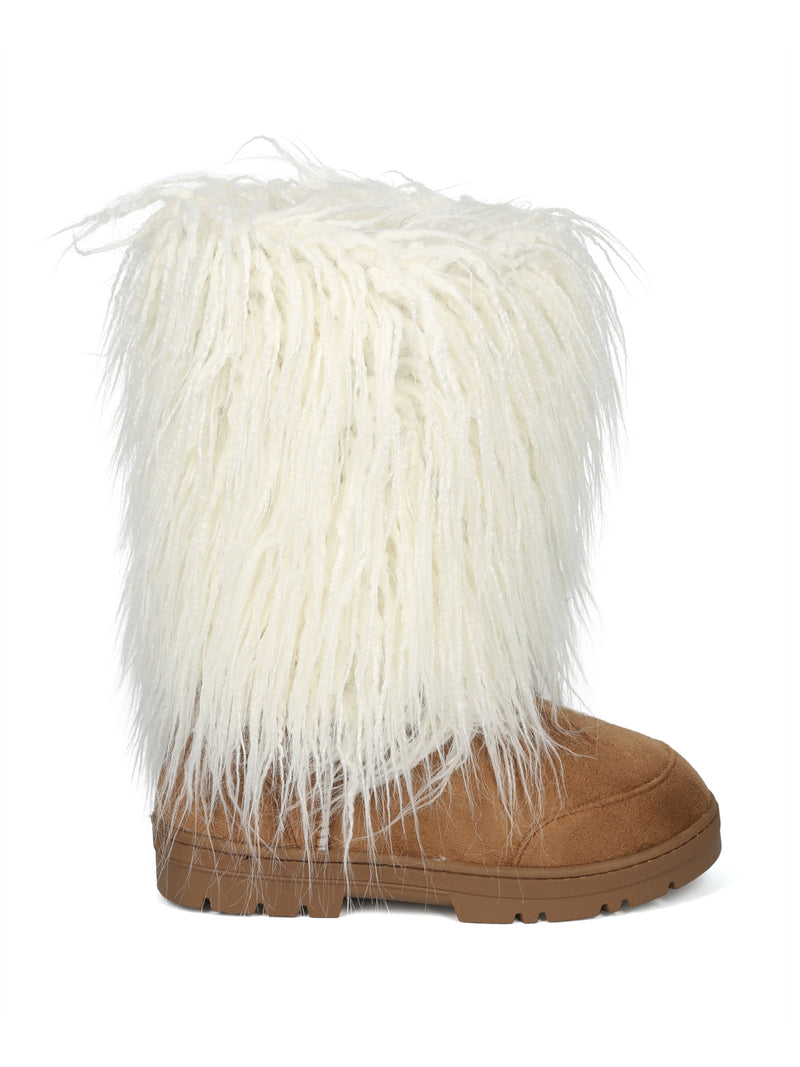 Nature Breeze Tan And White All Over Faux Fur Mid Calf Boot