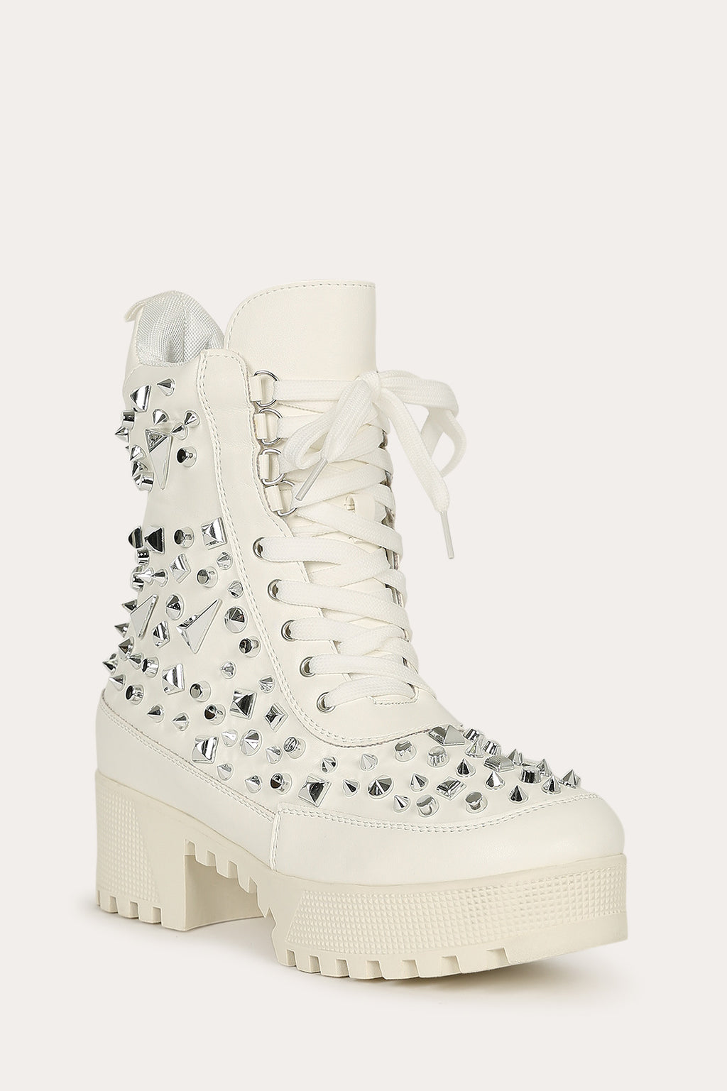 Cape Robbin Night Sky White Studded Combat Boot