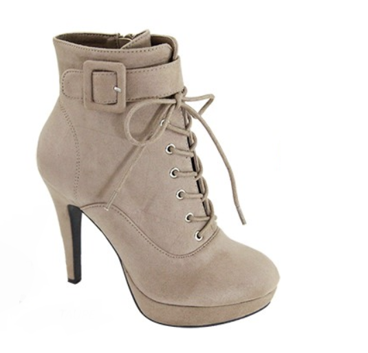 Nohemi Taupe Lace Up Booties