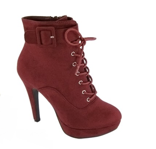 Nohemi Wine Lace Up Booties