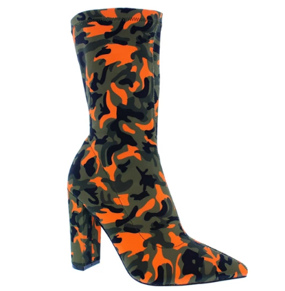Liliana Nordic-2 Orange Camo Pointed Close Two Sock Heeled Bootie