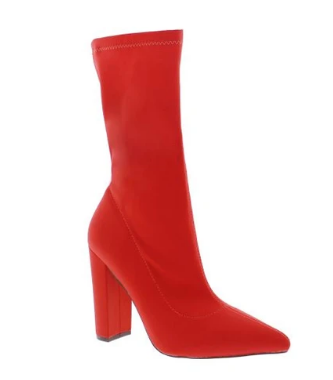 Liliana Nordic-2 Red Pointed Close Two Sock Heeled Bootie