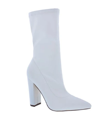 Liliana Nordic-2 White Pu Pointed Close Two Sock Heeled Bootie