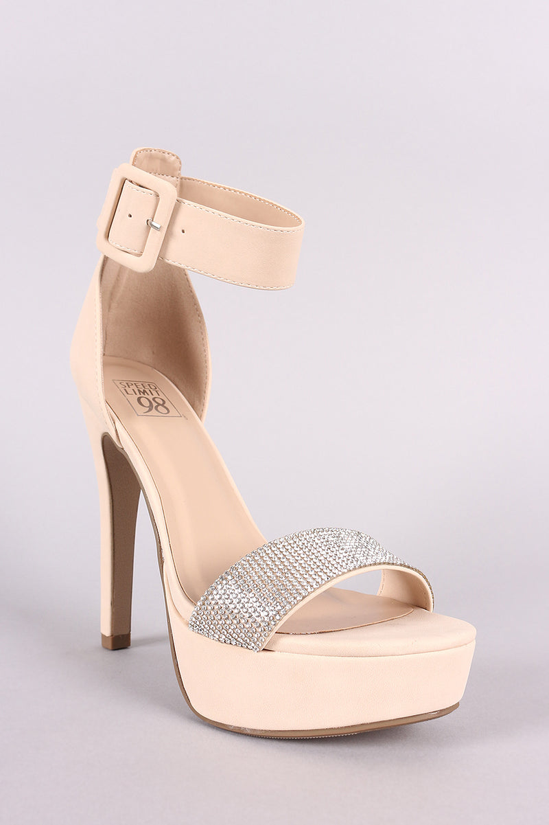 Speed Limit 98 Notice-s Nude Rhinestone Open Toe Platform Heel