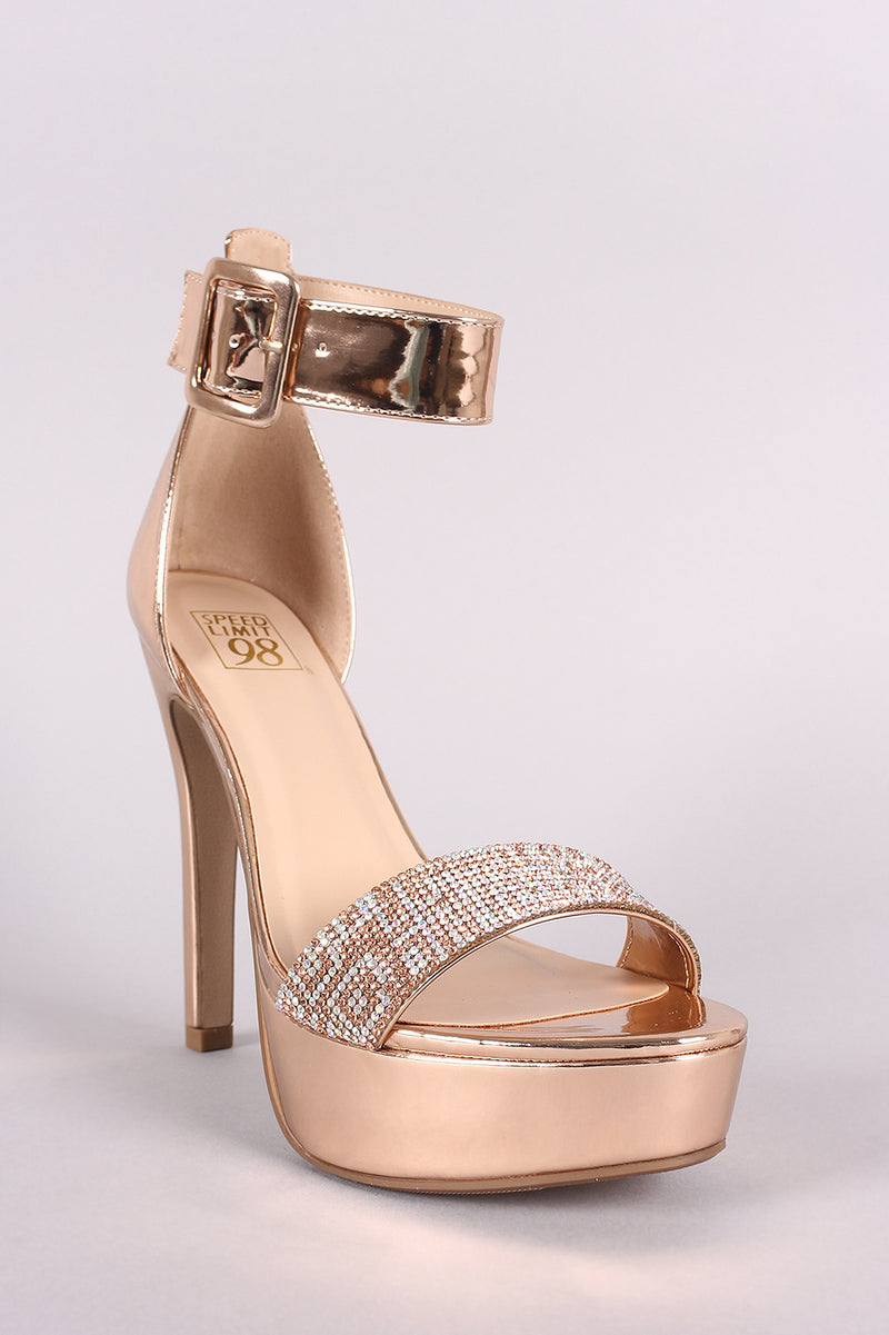 Speed Limit 98 Notice-s Rose Gold Rhinestone Open Toe Platform Heel