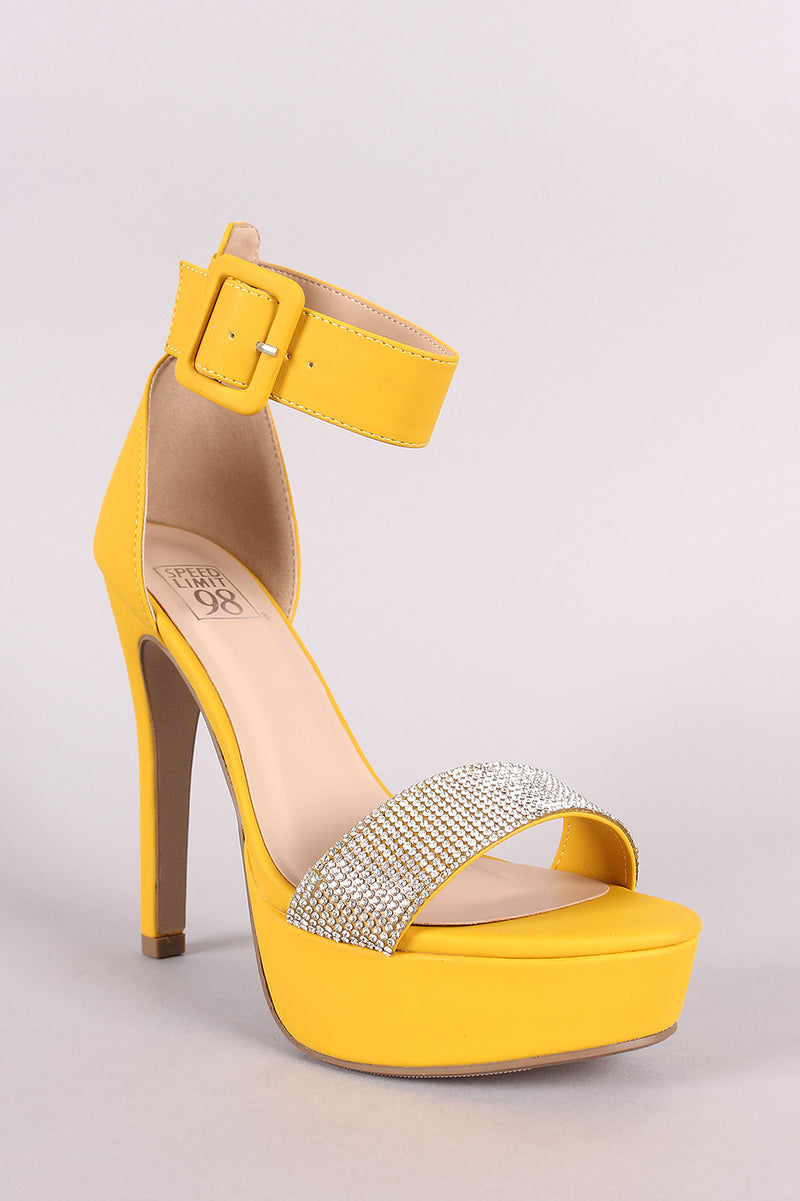 Speed Limit 98 Notice-s Mustard Yellow Rhinestone Open Toe Platform Heel