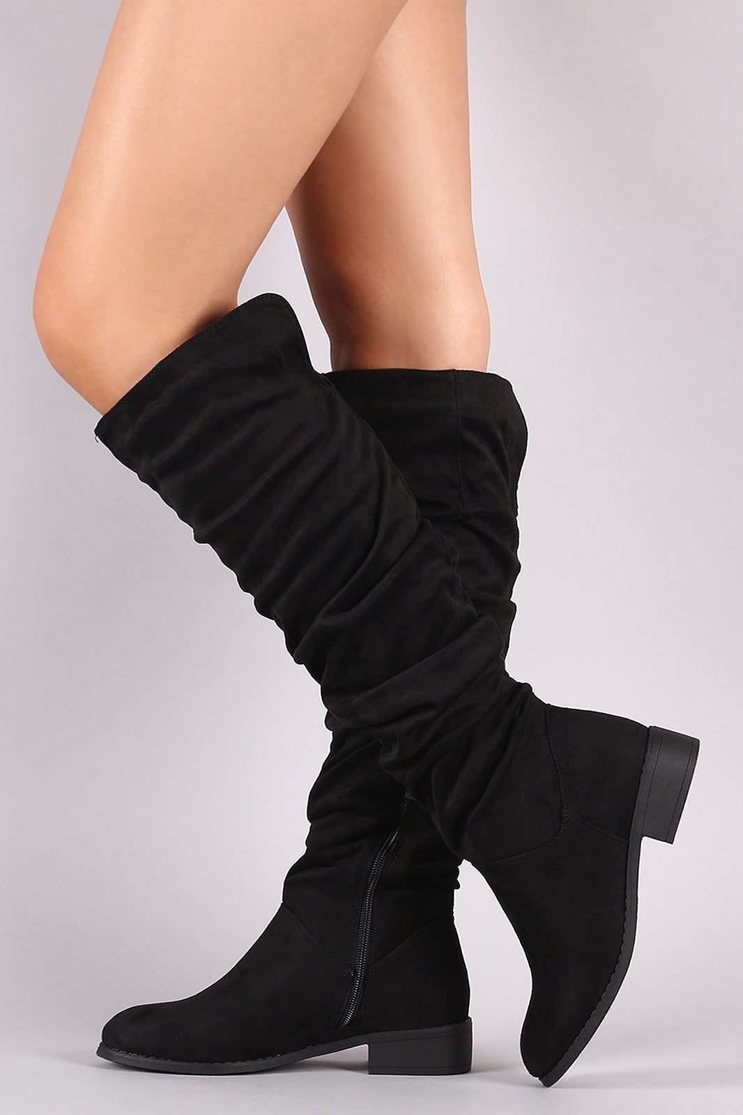 582daedfc1d Nature Breeze Olympia-25 Black Slouchy Suede Riding Knee High Boots ...