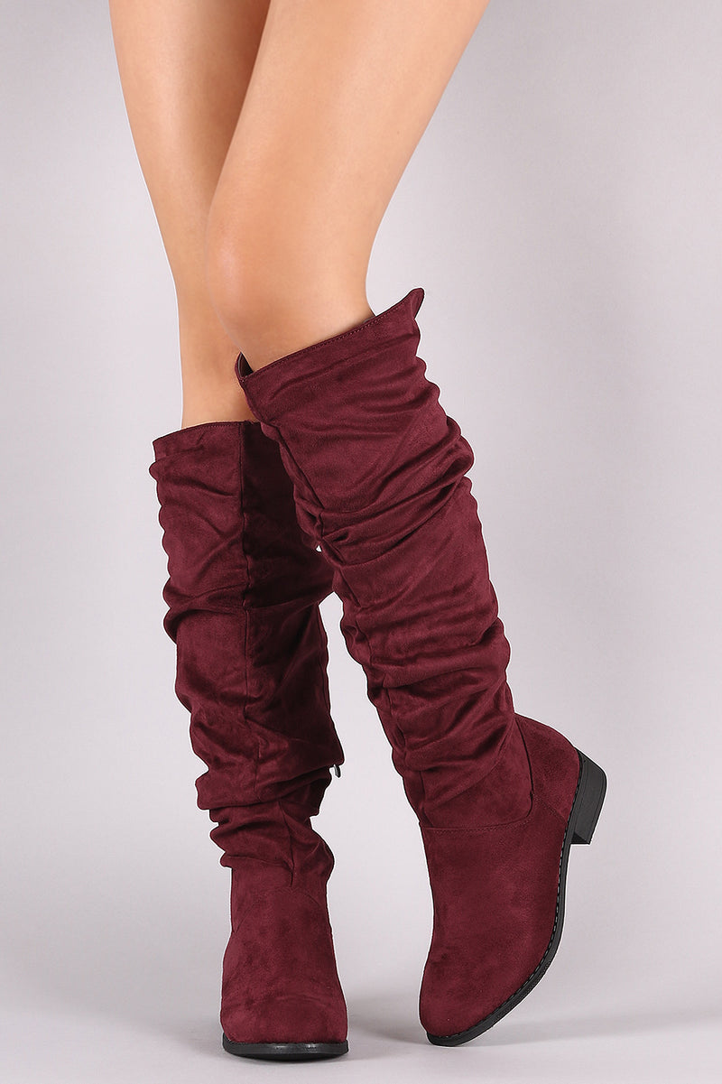 3449fc5d26a Nature Breeze Olympia-25 Burgundy Slouchy Suede Riding Knee High Boots