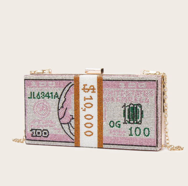 Pink Rhinestone Money Clutch With Gold Chain Strap