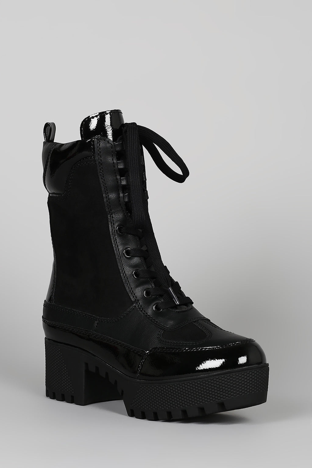 Bamboo Powerful-06 Black Lace Up Platform Lug Sole