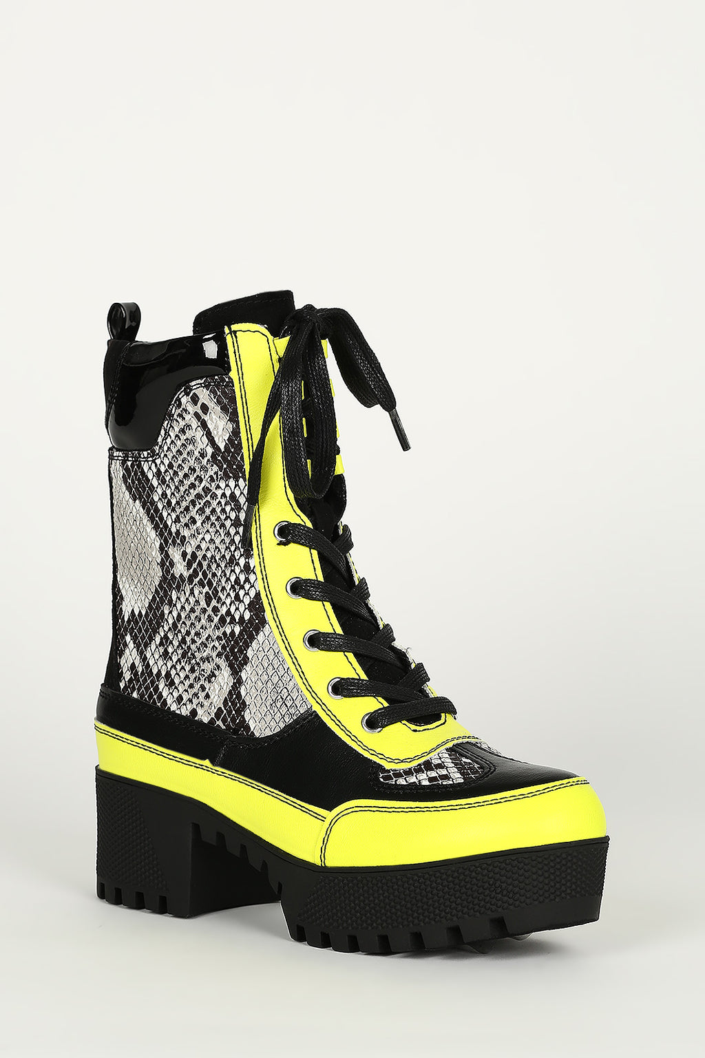 Bamboo Powerful-06 Neon Snake Lace Up Platform Lug Sole