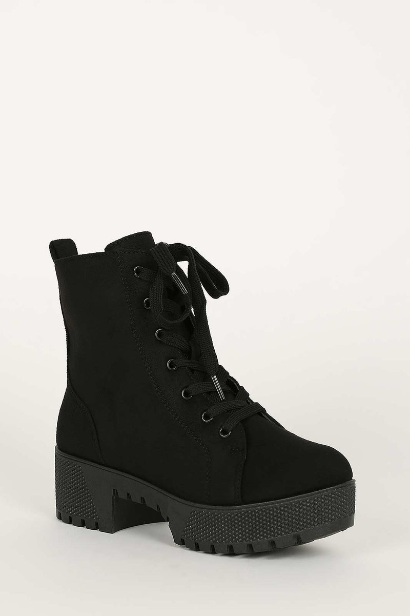 Bamboo Powerful-27 Black Platform Short Combat Boot