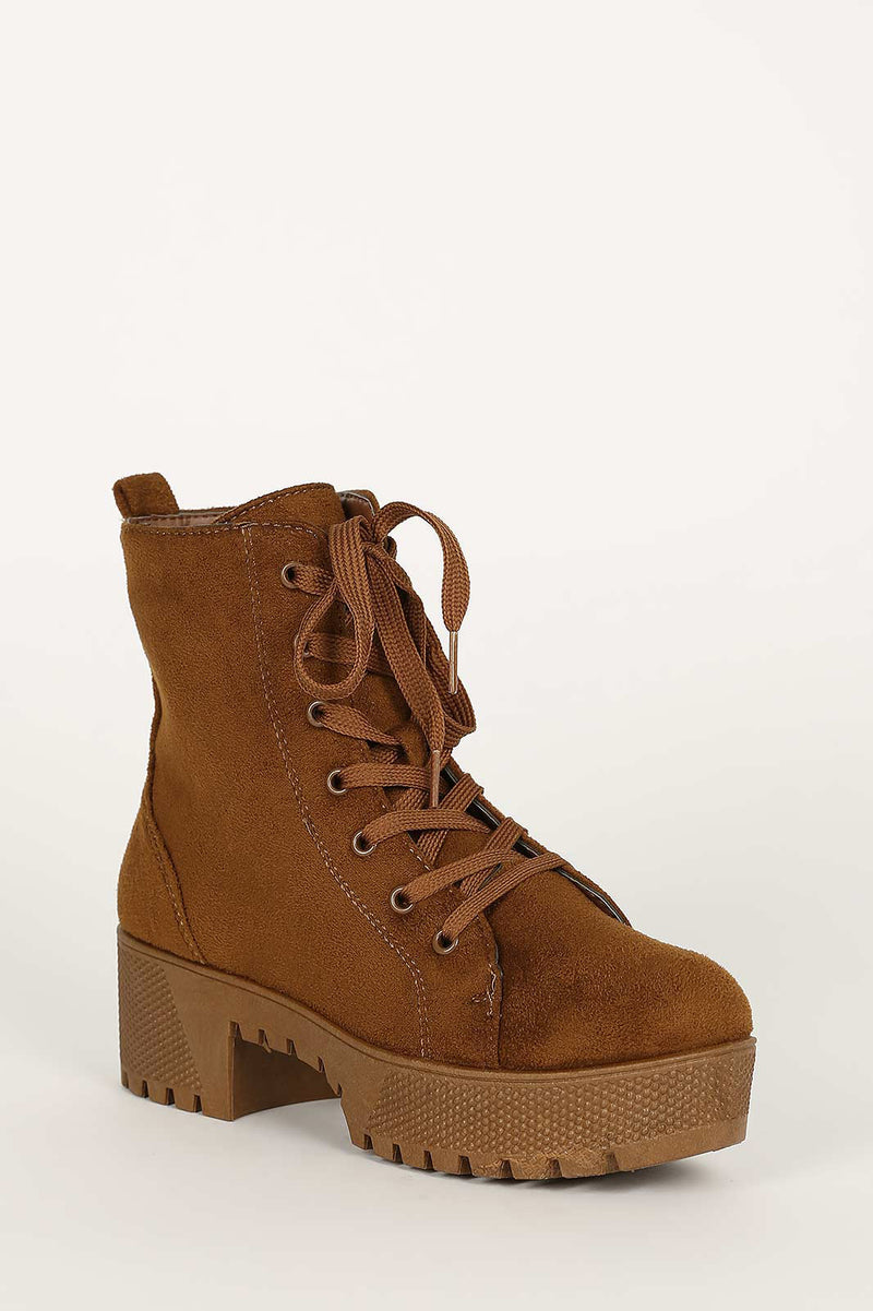 Bamboo Powerful-27 Tabacco Platform Short Combat Boot