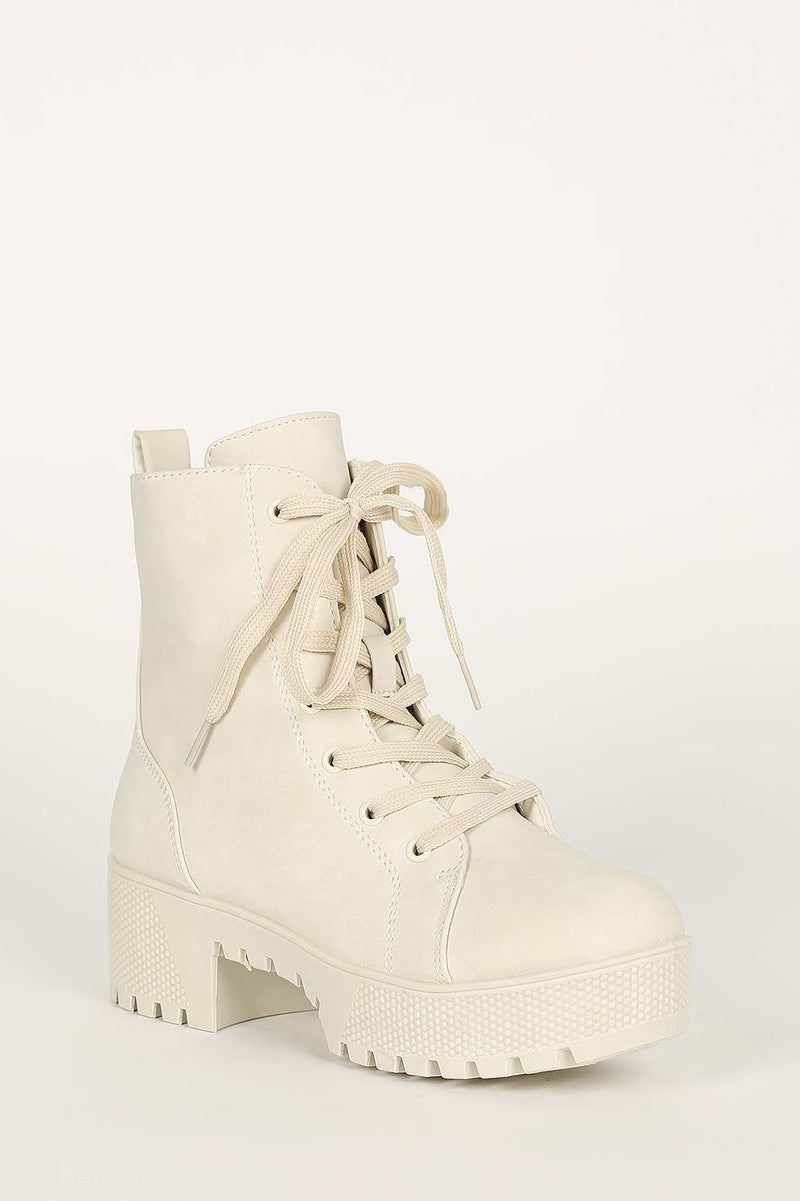 Bamboo Powerful-27 White Platform Short Combat Boot