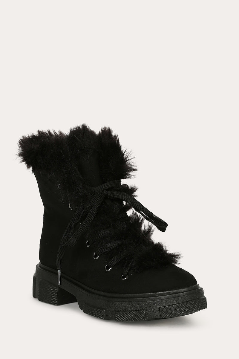 Bamboo Puzzle-04 Black Fur Lace Up Boot