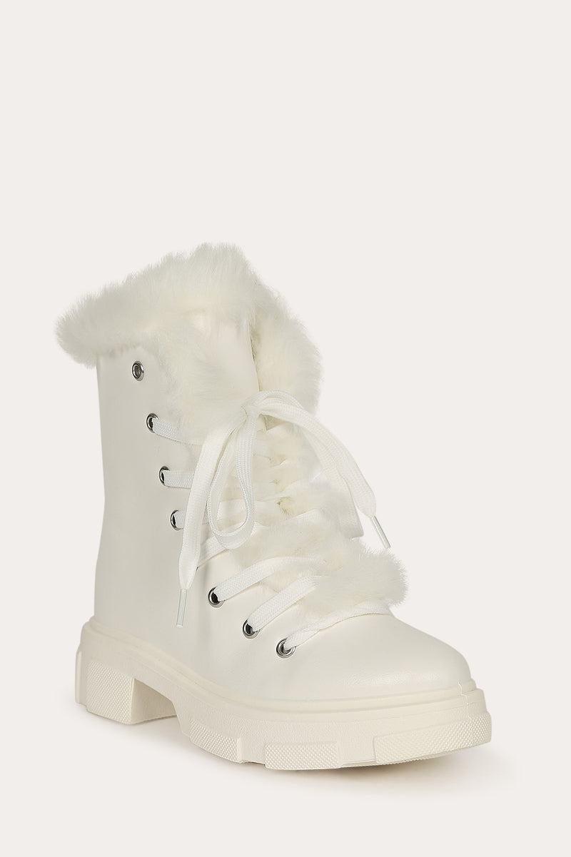 Bamboo Puzzle-04 White Fur Lace Up Boot