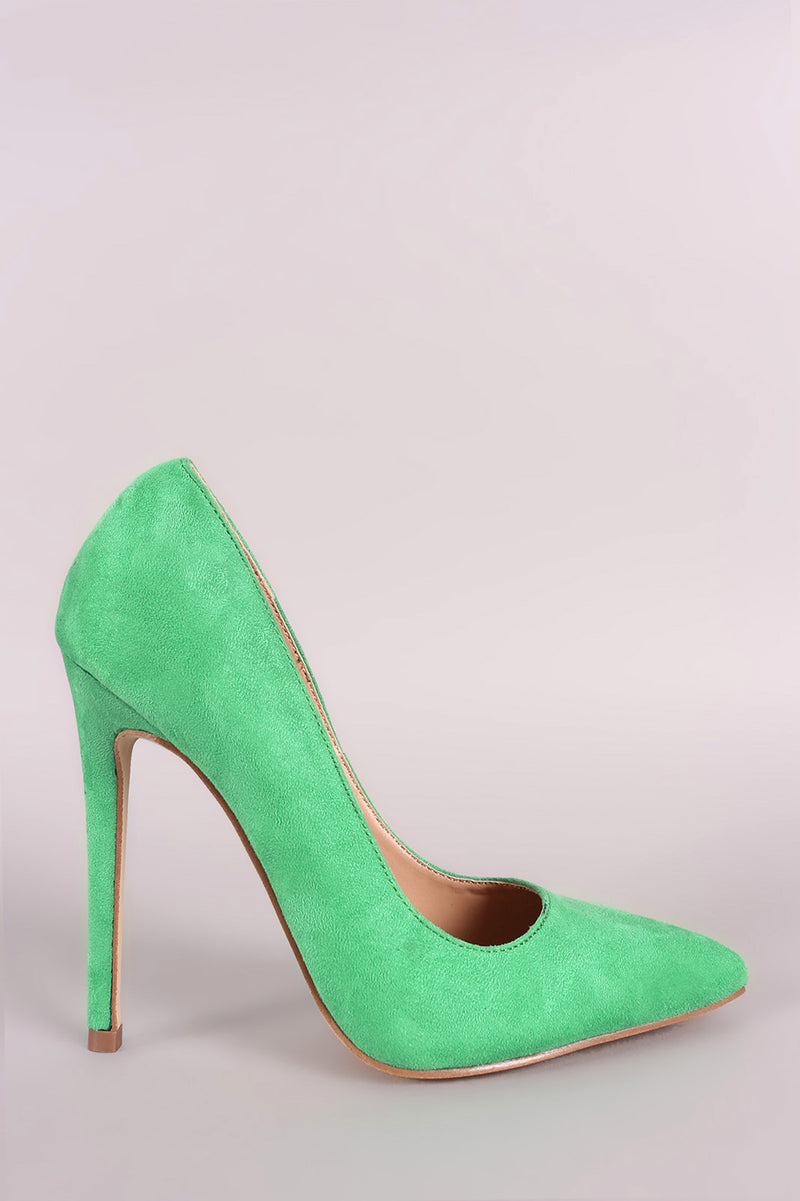 Red Cherry Ricky-5 Green Suede Pointed Toe Heel