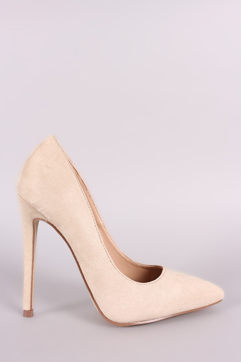 Red Cherry Ricky-5 Nude Suede Pointed Toe Heel
