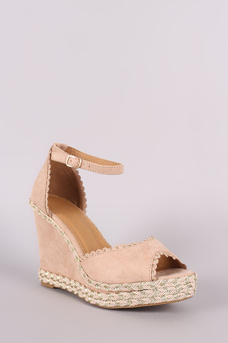 Bamboo Rina-03 Nude Open Toe Platform Wedge
