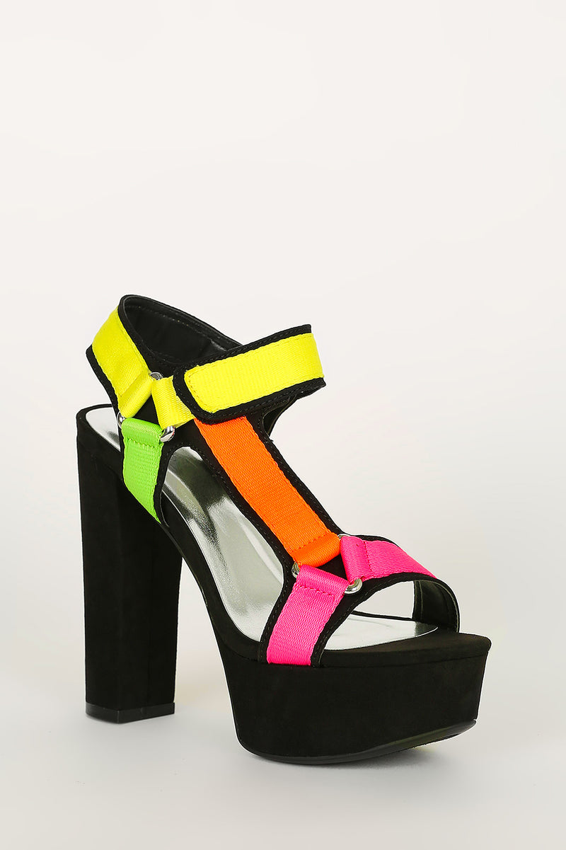 Bamboo Shocking-02 Black Multi Open Toe Platform Heel