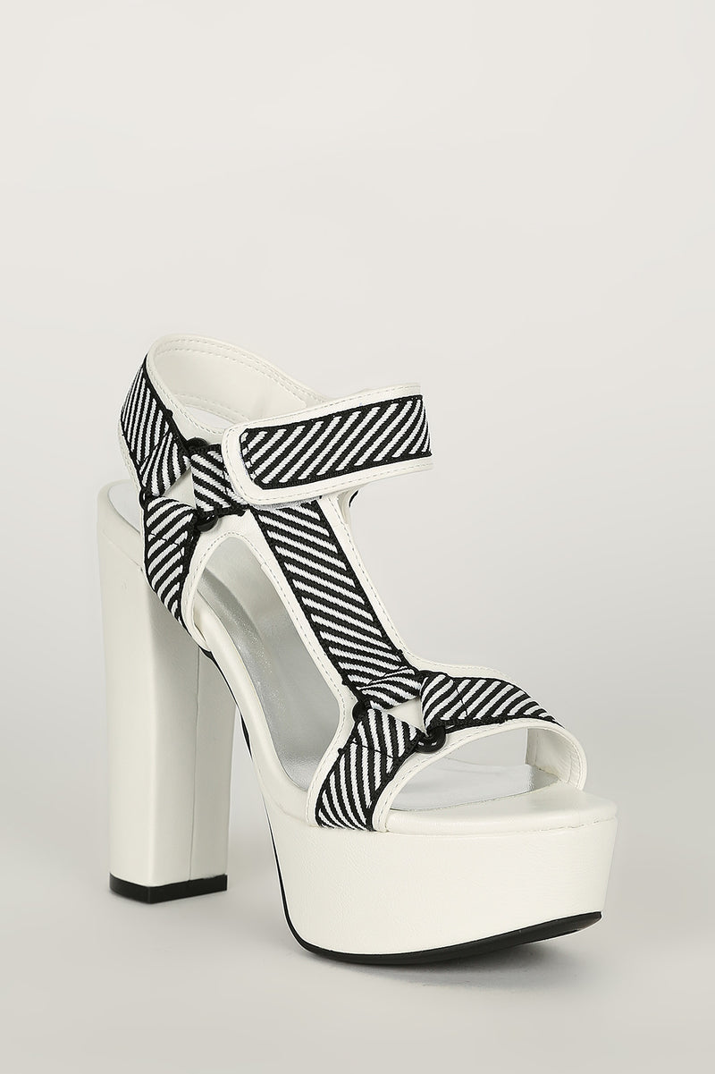 Bamboo Shocking-02 White Multi Open Toe Platform Heel