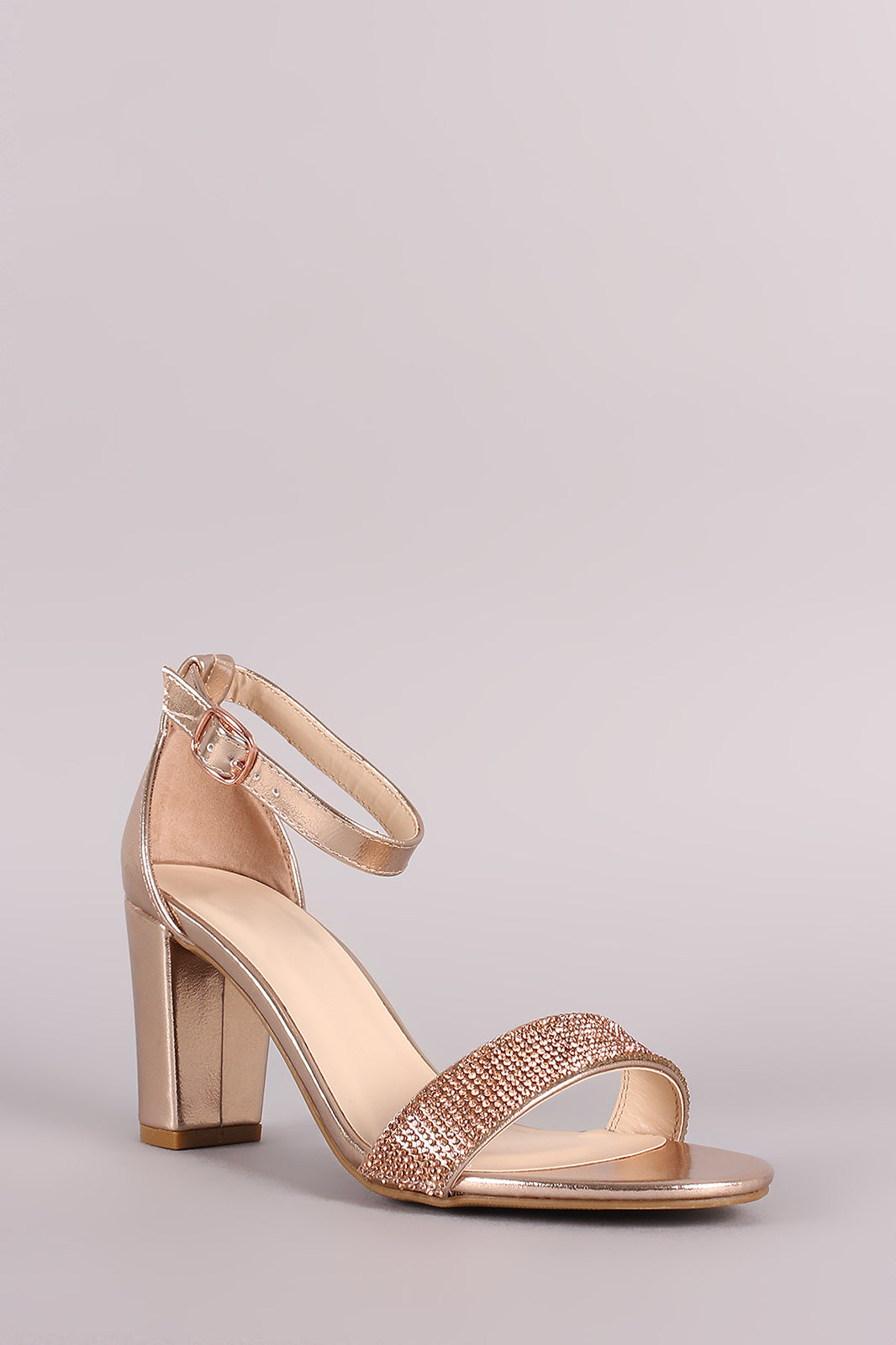5cd408b8adc Bamboo Striking-14 Rose Gold Open Toe Block Heel with Ankle Strap ...