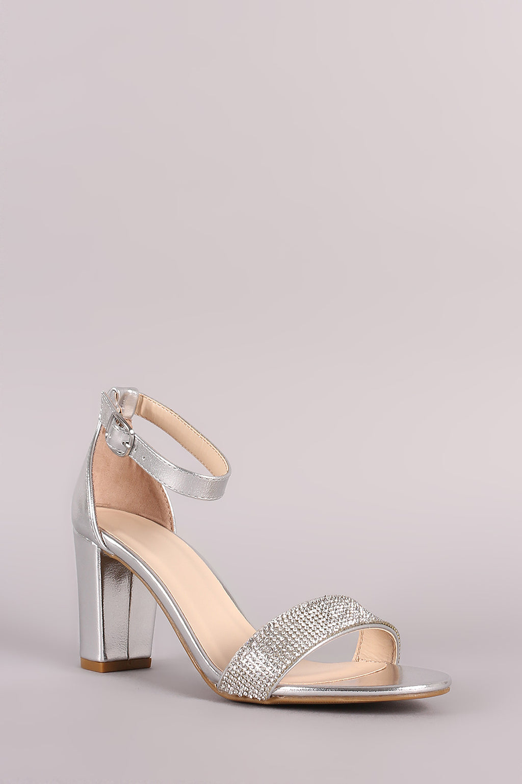 Bamboo Striking-14 Silver Open Toe Block Heel with Ankle Strap