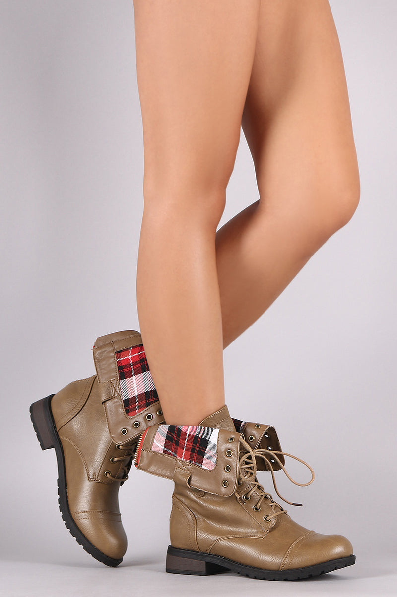 Refresh Terra-01 Plaid Lace Up Taupe Boots