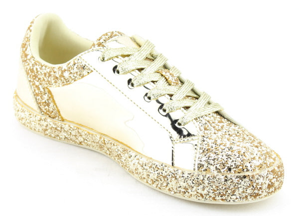 Nature Breeze Raven-01 Gold Sparkly Sneaker